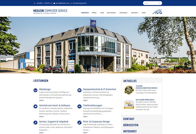 Website der Firma Heilein Computer Service in Erkrath